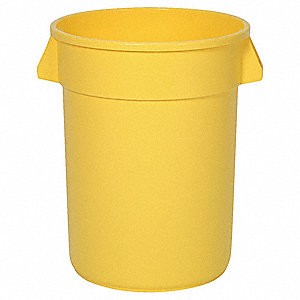 ROUND CONTAINER,32 GAL,22 IN,YELLOW