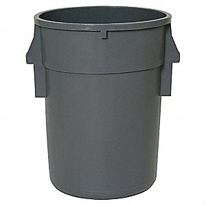 ROUND CONTAINER,44 GAL,24 IN,GRAY