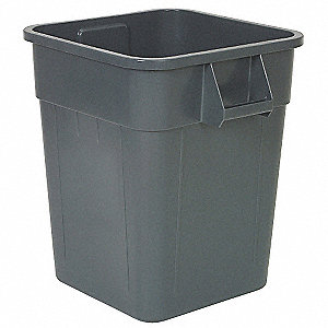 "Huskee 32 gal. Square Open Top Utility Trash Can, 22-1/2""H, Gray"