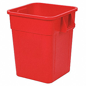 "Huskee 32 gal. Square Open Top Utility Trash Can, 22-1/2""H, Red"