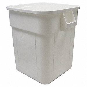 "Huskee 48 gal. Square Open Top Utility Trash Can, 28-3/4""H, White"