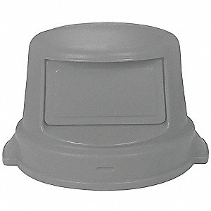 Trash Can Top,Dome,Swing Closure,Gray