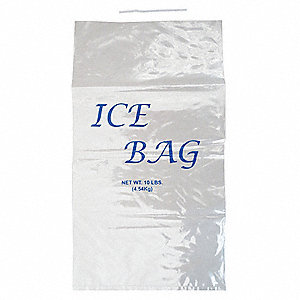 20 In. x 11 In. Metallocene Printed Ice Bags, Wicketed with 8 lb. Capacity&#x3b; PK1000