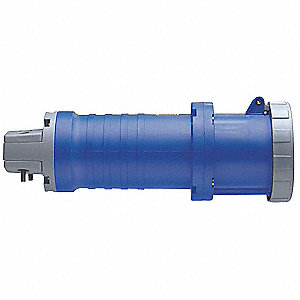 3-Pole, 4-Wire Watertight Pin and Sleeve Connector, 250VAC, Blue