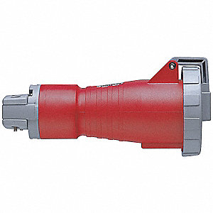 3-Pole, 4-Wire Watertight Pin and Sleeve Connector, 480VAC, Red