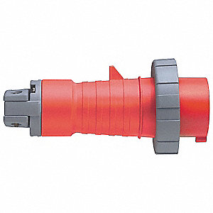 IEC Pin and Sleeve Plug, Red, 60 Amps, Number of Poles: 3, Number of Wires: 4