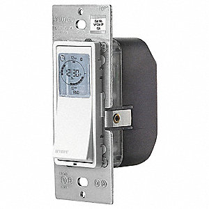 120VAC Electronic Wall Switch Timer, Max. On/Off Cycles:48, White, Ivory, Light Almond