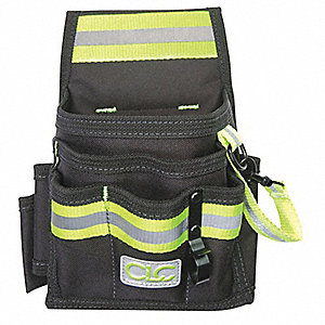 Black/Lime-Yellow Hi-Vis Maintenance Tool Pouch, Polyester, Fits Belts Up To (In.): 2-3/4