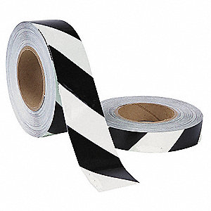 "Floor Marking Tape, Striped, Continuous Roll, 1"" Width, 1 EA"