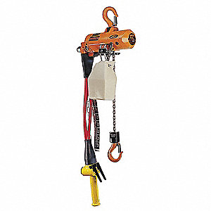 Air Chain Hoist, 500 lb. Load Capacity, 15 ft. Lift, 29 fpm, 26 scfm