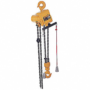 Air Chain Hoist, 1000 lb. Load Capacity, 15 ft. Hoist Lift, Hook Mounted - No Trolley