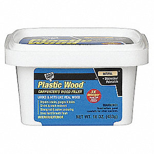 Exterior Latex Wood Filler, 1 pt. Size, Natural Color, Container Type: Pail