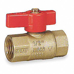 "Brass FNPT x FNPT Gas Ball Valve, Lever, 1/2"" Pipe Size"