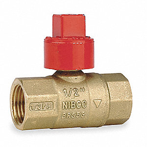 "Brass FNPT x FNPT Gas Ball Valve, Square, 1/2"" Pipe Size"