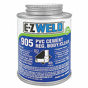 Cement, Clear, 32 oz., for PVC Pipe and Fittings Up To 4""