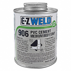 Medium Body PVC Cement, Gray, 16 oz., for PVC, Schedule 40 and 80 Pipes and Fittings Up To 8""