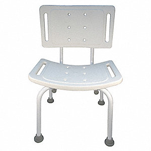 "19-1/4"" Plastic Tub and Shower Seat with Back Support, White"