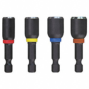 Mag Nut Driver Set,1/4 Hex,1 7/8 L,4 Pc