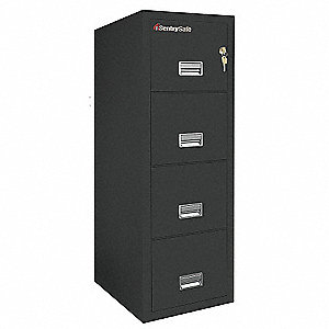 Vert Fire File,Ltr,4 Drawer,2-Hr,Black