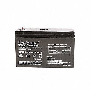 "12VDC Sealed Lead Acid Battery, 5.4Ah, 0.187"" Faston"