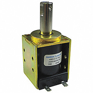 "Solenoid, 12VDC Coil Volts, Stroke Range: 1/8"" to 1/2"", Duty Cycle: Continuous"