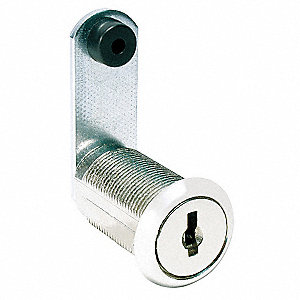 Alike-Keyed Standard Keyed Cam Lock Key # C413A, For Door Thickness (In.): 15/64, Bright Nickel