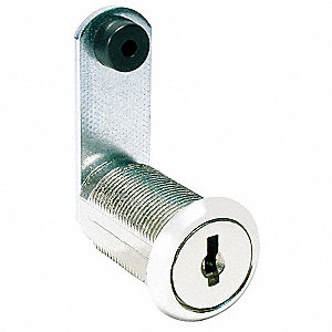 Alike-Keyed Standard Keyed Cam Lock Key # C420A, For Door Thickness (In.): 15/64, Bright Nickel