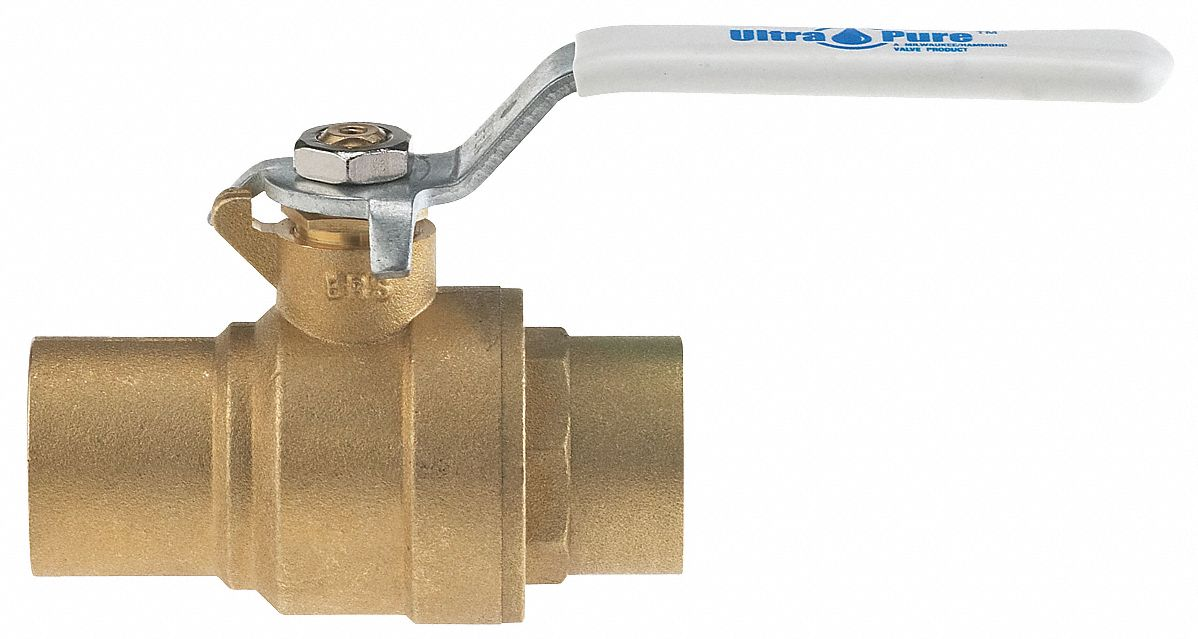 Ball Valve,  Lead-Free Brass,  Inline,  2-Piece,  Pipe Size 1/2 in,  Connection Type Sweat x Sweat