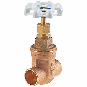 "Solder Gate Valve, Inlet to Outlet Length: 1-7/8"", Pipe Size: 1/2"", Max. Fluid Temp.: 180°F"
