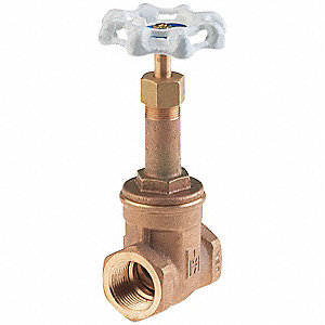 "Threaded Gate Valve, Inlet to Outlet Length: 2"", Pipe Size: 1/2"", Max. Fluid Temp.: 180°F"