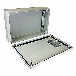 "8""H x 16""W x 5""D Metallic Enclosure, Light Gray, Knockouts: No, Screws Closure Method"