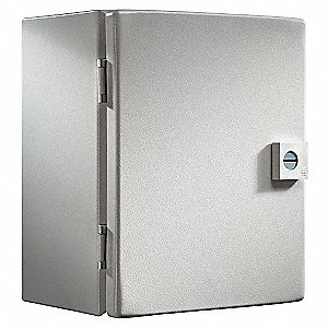 "16""H x 14""W x 8""D Metallic Enclosure, Light Gray, Knockouts: No, 1/4 Turn Latch Closure Method"
