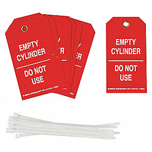"0.010 Laminated Polyester Empty Cylinder Do Not Use Cylinder Status Tag, 5-3/4"" Height, 3"" Width"