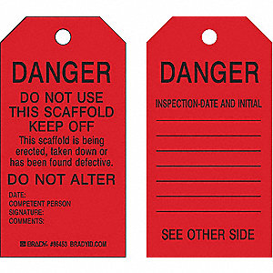 "Danger Tag, Polyester, Height: 5-3/4"", Width: 3"", Red"