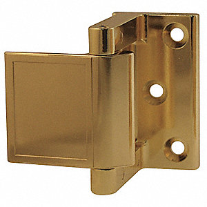 "Hotel Security Latch, Polished Brass, Length 1-1/2"", Width 1-1/2"""