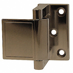 "Hotel Security Latch, Polished Chrome, Length 1-1/2"", Width 1-1/2"""