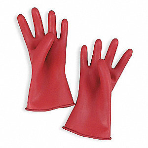 Red Electrical Gloves, Natural Rubber, 00 Class, Size 7
