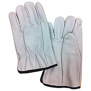 "Electrical Glove Protector, White, Cowhide Leather, 10"" Length"