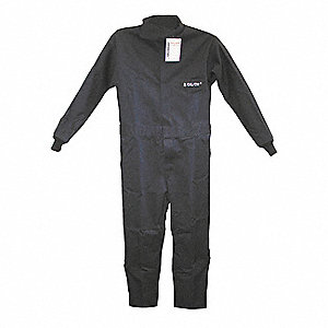 Cotton, Flame-Resistant Coverall, Size: L, Color Family: Blues, Closure Type: Hook-and-Pile