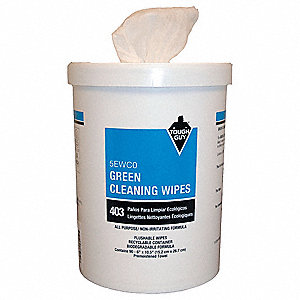 "Unscented Fragrance Green Cleaning Wipes, 6"" x 10-1/2"", 90 Wipes per Container, 90 PK"