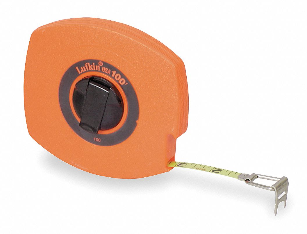 LUFKIN Long Tape Measure38 In x 100 ftOrange 4CP83HV30CME