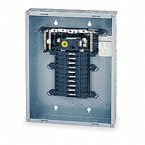 Load Center, Main Circuit Breaker, Convertible,100 Amps,120/240VAC Voltage,Number of Spaces: 20