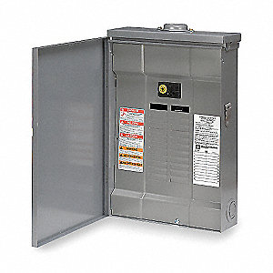 Load Center, Main Circuit Breaker, Convertible,125 Amps,120/240VAC Voltage,Number of Spaces: 24