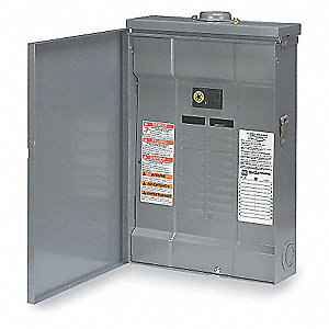 Load Center, Main Circuit Breaker, Convertible,125 Amps,120/240VAC Voltage,Number of Spaces: 6