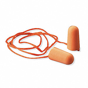 29dB Disposable Tapered-Shape Ear Plugs; Corded, Orange, Universal