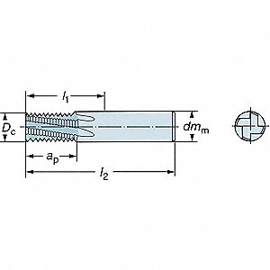 "Ball End Mill, 0.0060"" Milling Dia., Number of Flutes: 2, 0.0060"" Length of Cut, PVD"