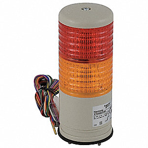 "3-1/4"" Steady, Flashing with Buzzer Tower Light LED Assembly with 60mm Dia., Red, Orange"
