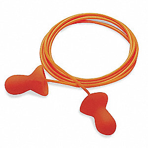 26dB Reusable Bell Shape Ear Plugs&#x3b; Corded, Orange, M