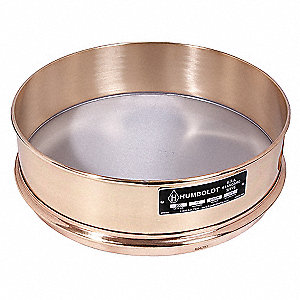 Sieve,8 In,Brass Frame,SS Mesh,No. 16