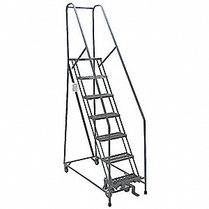 "9-Step Rolling Ladder, Perforated Step Tread, 120"" Overall Height, 450 lb. Load Capacity"